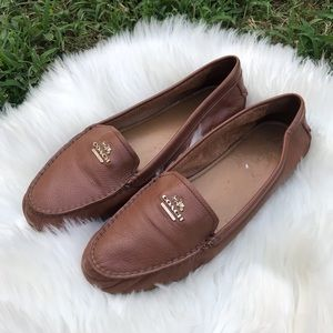 COACH brown leather slip on loafers classic flats